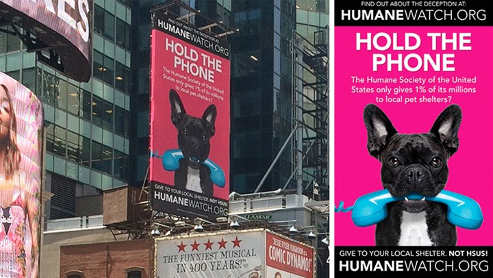 Neon NYC Billboard Exposes HSUS' Fraudulent Fundraising