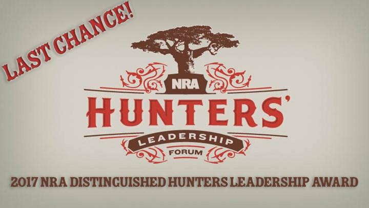 Nominations for NRA Hunters Leadership Award Due Jan. 31!