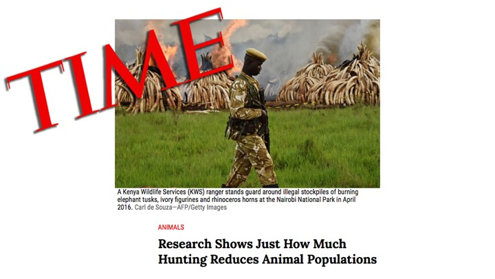 Time Magazine Errs, Hunting Helps Wildlife!