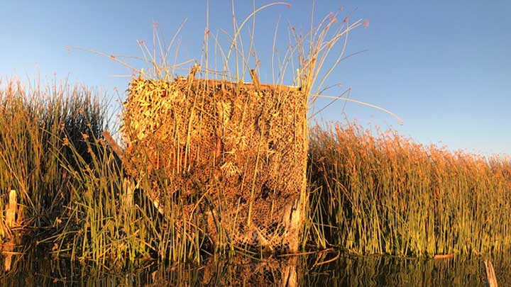 John Gorham is allowed to customize his blind as he wishes. Waterfowl blinds at Edwards Air Force Base are selected in drawings at the beginning of each season. (Image courtesy of John Gorham.)