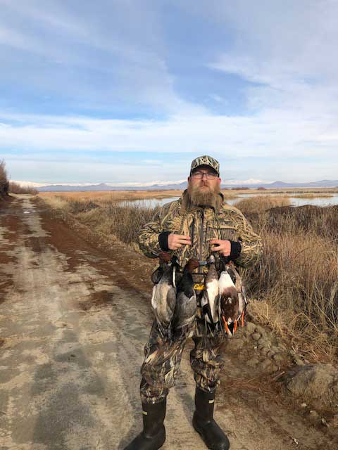 After a day on Edwards Air Force Base, hunter John Gorham harvested a mixed bag of redheads, wigeon and shovelers. Don't overlook possible hunting opportunities on nearby military bases. (Image courtesy of John Gorham. )