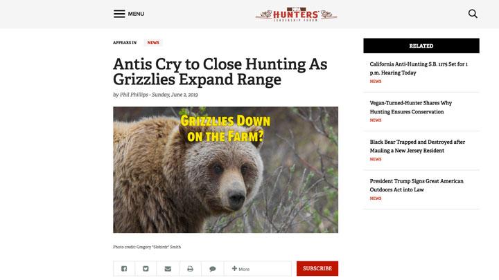 nra hunters' leadership forum website page view