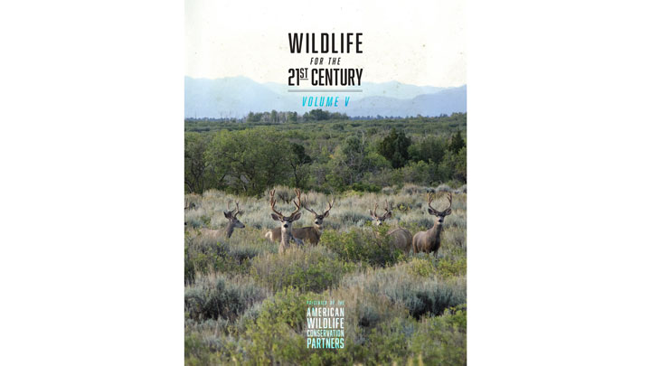 """mule deer in the American West grace the cover of American Wildlife Conservation Partners' """"Wildlife for the 21st Century: Volume V"""""""