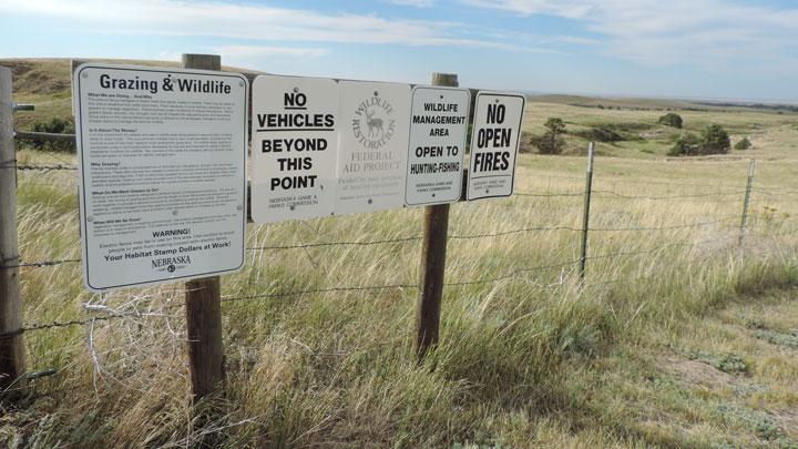 signs in nebraska highlight public hunting land