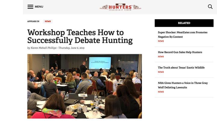 screen grab of nra hunters' leadership forum website