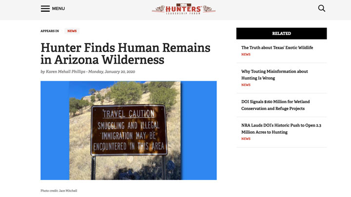 screen shot of nrahlf.org story regarding human remains found at border