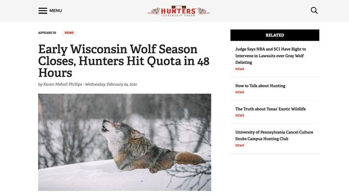 screenshot of nra hunters' leadership forum news story regarding 2021 wisconsin wolf hunt