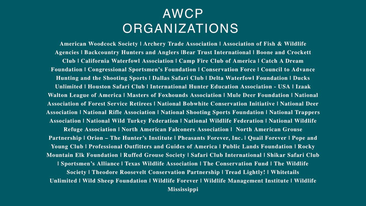 list of sponsoring organizations for american wildlife conservation partners
