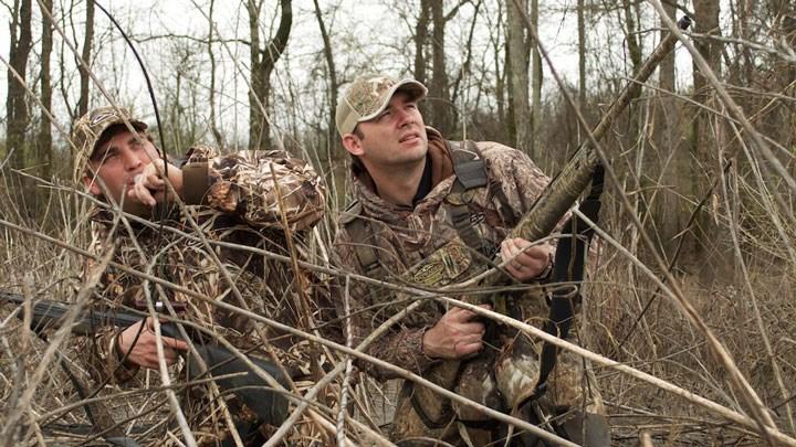 duck hunters watch approaching ducks in a swamp
