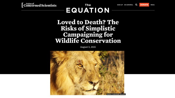 Article Calls Out Danger of Anti-Hunters Loving Animals to Death